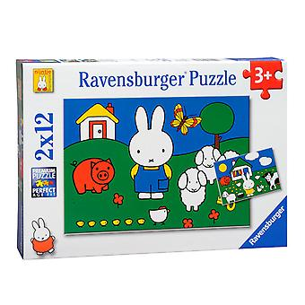 Ravensburger Puzzle Miffy Tiere 2 x 12