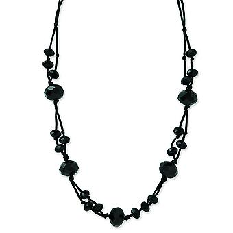 Satin cord Black Plating Fancy Lobster Closure Black-plated Black Acrylic Beads 16inch With Ext Necklace