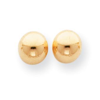 14 k Gelb Gold hohl geschliffenen 7mm Kugel Ohrringe - Post.4 Gramm - Maßnahmen 7x7mm