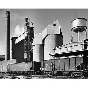 Coal silo and conveyor belt of a paper mill Poster Print