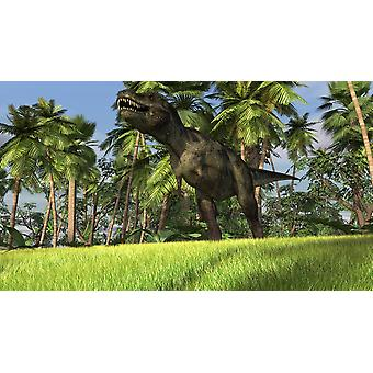 Tyrannosaurus Rex hunting in a tropical landscape Poster Print