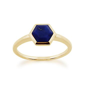 Gemondo 925 Gold Plated Sterling Silver 1.10ct Lapis Lazuli Hexagonal Prism Ring