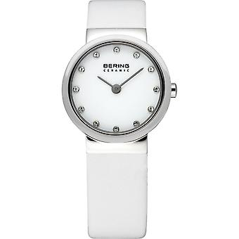 Bering ladies slim ceramic - 10725-854 leather wristwatch watch