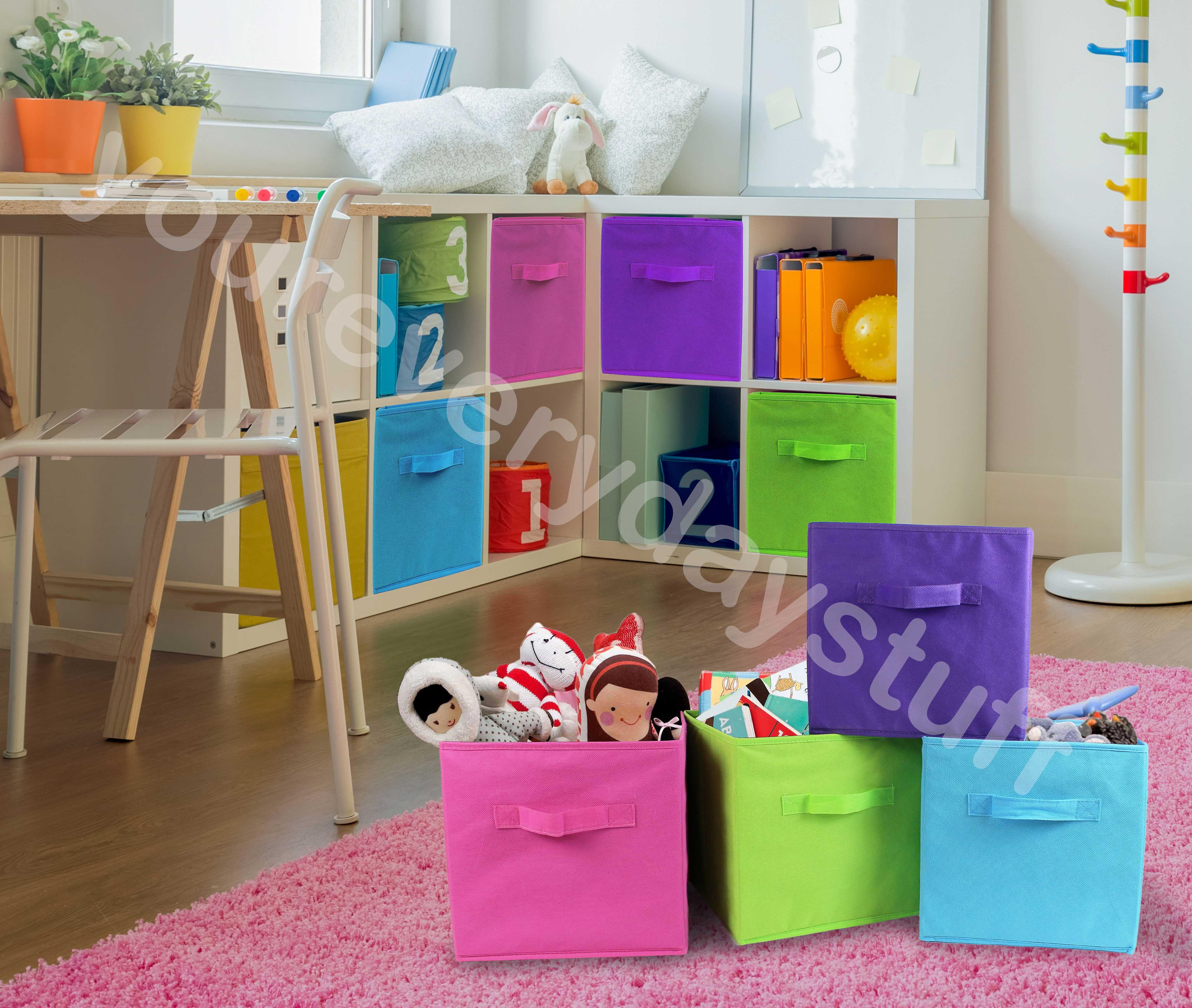 Folding Storage Cube Space Saver Tidy Home Bedroom Playroom Toys