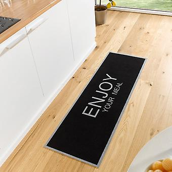 Washable kitchen runner enjoy your meal black grey 50 x 150 cm