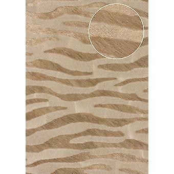 Animal motif wallpaper Atlas SKI-5069-2 non-woven wallpaper imprinted with zebra pattern m2 shimmering beige grey beige deer Brown pale brown 7,035
