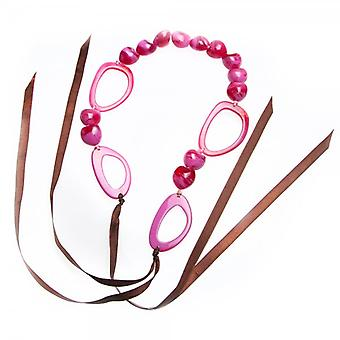 Camille Womens Ladies Fashion Jewellery Pink Bead And Hoop Ribbon Necklace