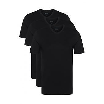 Hugo Boss 3er-Pack Regular-Fit v-neck T-Shirt, schwarz