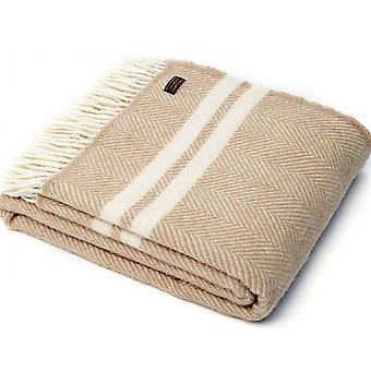 Tweedmill Pure New Wool Fishbone 2 Stripe Throw - Fawn/Cream
