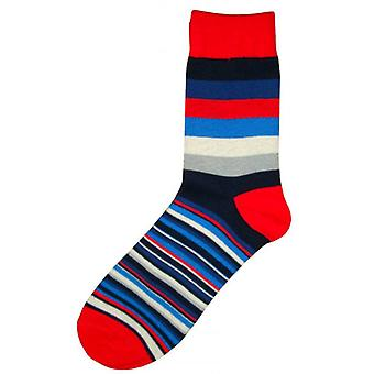 Bassin and Brown Medium and Thin Stripe Midcalf Socks - Red/Blue