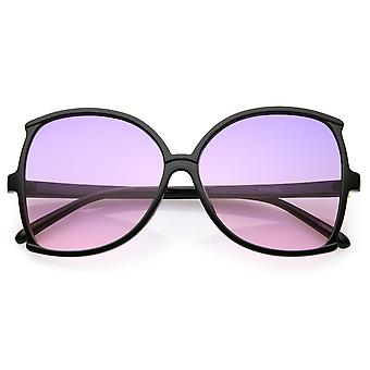 Women's Oversize Butterfly Sunglasses Slim Arms Color Tinted Lens 61mm