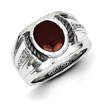 Sterling Silver Polished Prong set Gift Boxed Garnet and Diamond Oval Black Rhodium-plated Mens Ring - Ring Size: 9 to 1