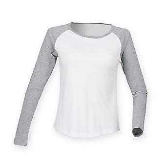 Skinnifit Womens/Ladies Long Sleeve Baseball T-Shirt