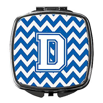 Carolines Treasures  CJ1045-DSCM Letter D Chevron Blue and White Compact Mirror