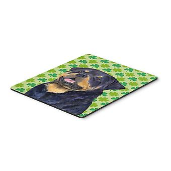 Rottweiler St. Patrick's Day Shamrock Portrait Mouse Pad, Hot Pad or Trivet