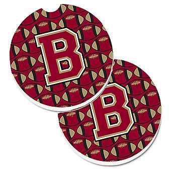 Letter B voetbal granaat en Gold Set van 2 Cup houder auto Coasters