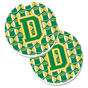 Letter D Football Green and Gold Set of 2 Cup Holder Car Coasters