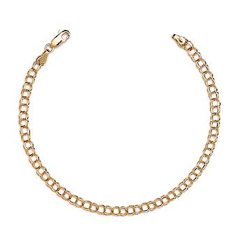 10k Yellow Gold High Polished Solid Double Link Charm Bracelet (0.16