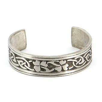 Handmade Celtic Interlace Shamrock Pewter Cuff Bracelet (Adjustable)
