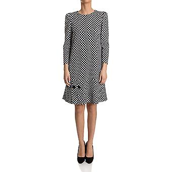 Pinko women's CILINDRAREZZ1 White/Black wool dress
