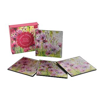 CGB Giftware Summer Meadow Square Glass Coasters (Set of 4)