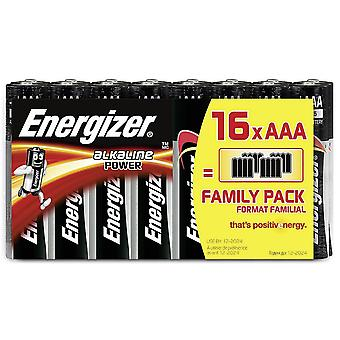 16 x Energizer AAA Alkaline Power LR03 Batteries