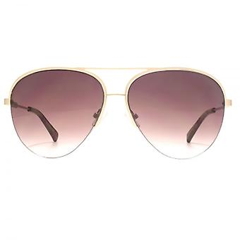 French Connection Premium Half Rim Pilot Sunglasses In Matte Gold