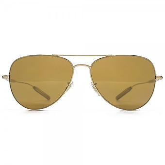 Paul Smith Davison Pilot Sunglasses In Soft Gold Mirror