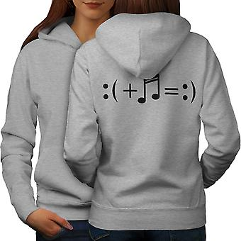 Music Makes Happy Women GreyHoodie Back | Wellcoda