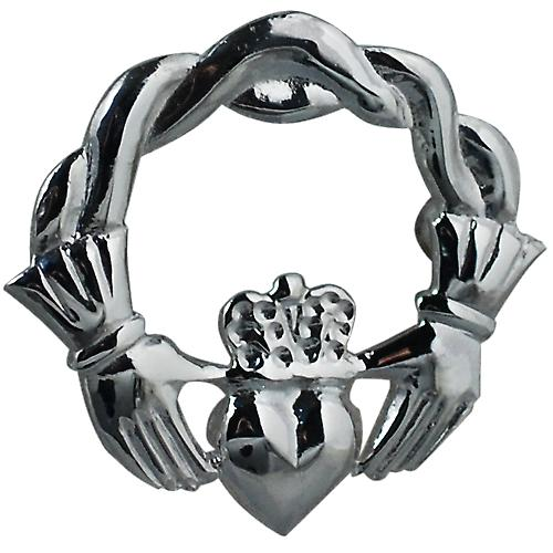 Silver 28x30mm Claddagh twisted cord top Brooch