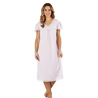 Slenderella ND1115 Women's Jacquard Pink Night Gown Loungewear Capped Sleeve Nightdress