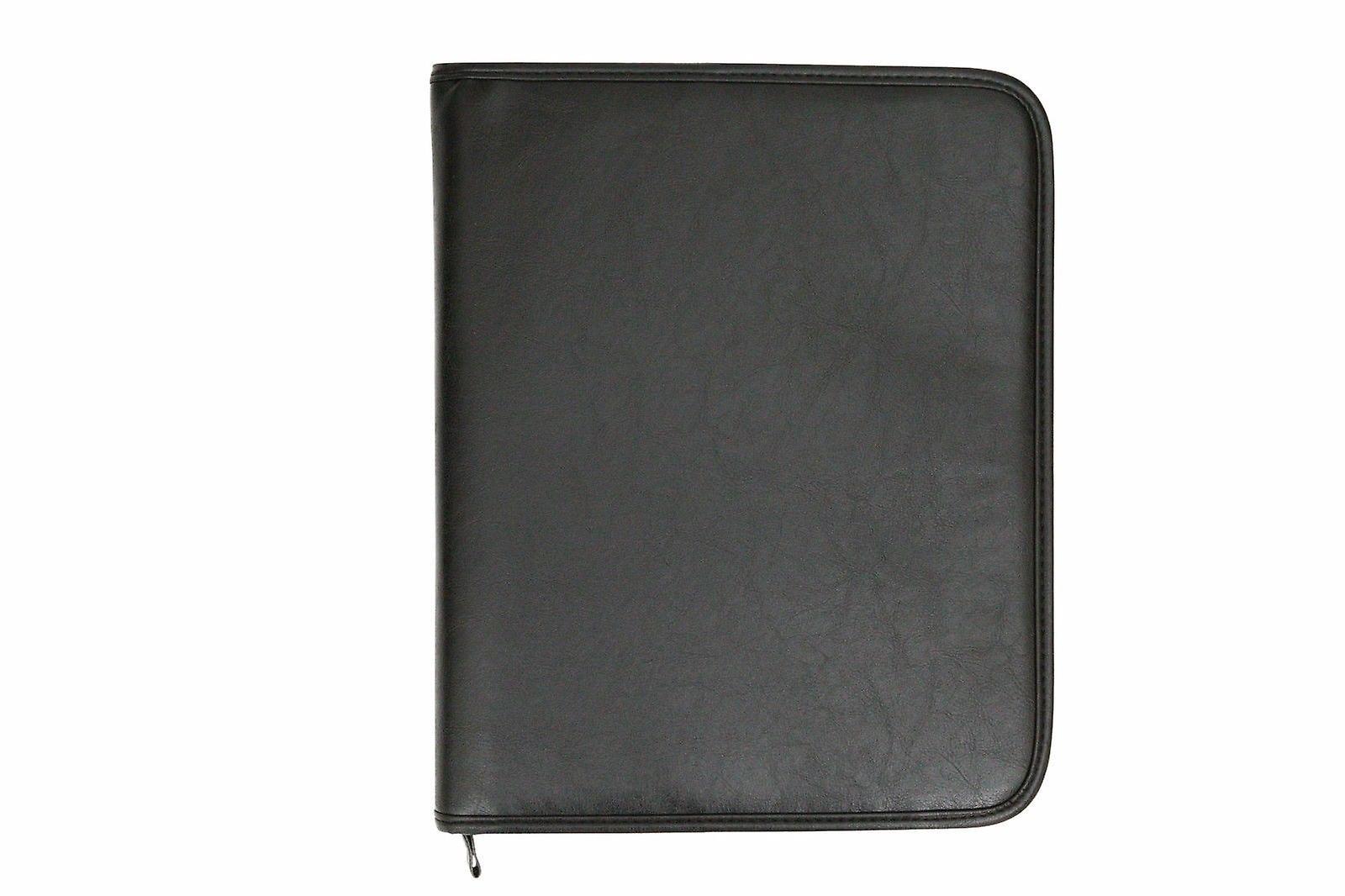 A4 Conference Folder Zipped Folio Case Pu Leather Business Portfolio Ring Binder