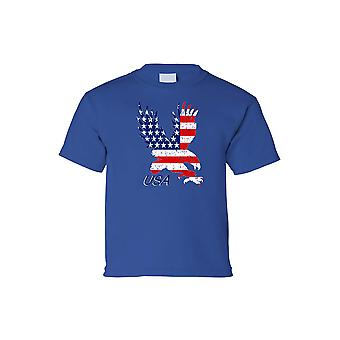 Kids USA Flag Tee American Bald Eagle Short Sleeve T-Shirt