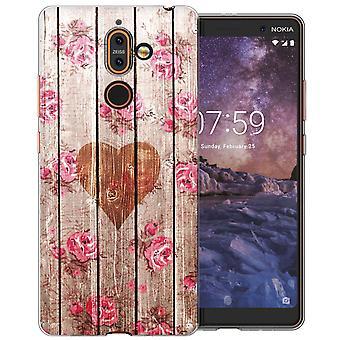 Nokia 7 Plus Vintage Wooden Heart TPU Gel Case