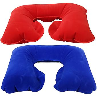 Inflatable U Shaped Travel Head Neck Rest Air Cushion Pillow PVC Flock New
