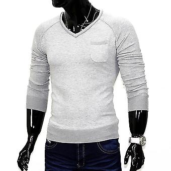 Men's pullover sweater long sleeve shirt Figurbetont V neck Pocket Pocket
