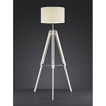 Trio Lighting Gent Vintage White Natural Wood Floor Lamp