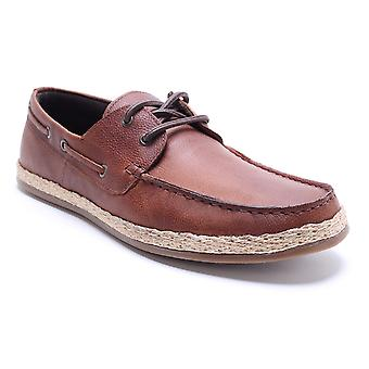 La paperasserie Ruskin Tan Leather Mens bateau chaussures