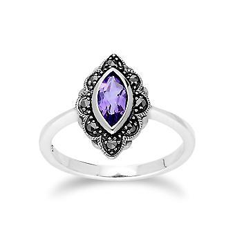 Gemondo argento ametista & Marcasite Art Nouveau anello