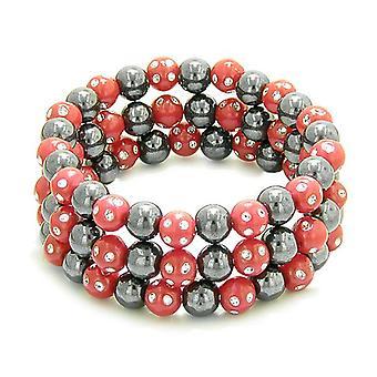 Amulette-Satz von 3 einzelnen simulierten Hämatit magnetische Armbänder in rot funkelnde Perlen Kristalle