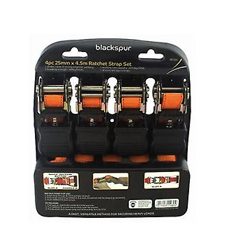 Blackspur 4 PC 25MM X 4.5M Ratchet Strap Set