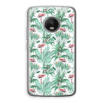 Motorola Moto G5 Transparent Case (Soft) - Flamingo leaves