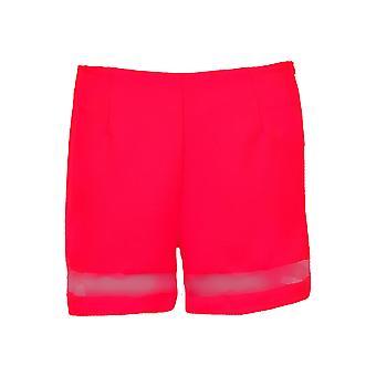 Senhoras do painel de malha manga curta mulheres festa é texturizado Shorts e Top Neon