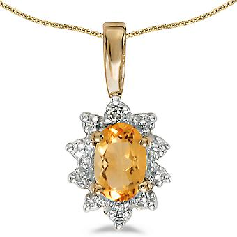 10k Yellow Gold Oval Citrine And Diamond Pendant with 18