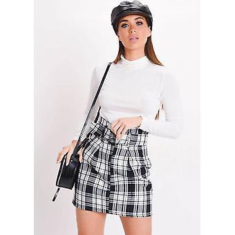Check Paperbag Waist Belted Mini Skirt Black
