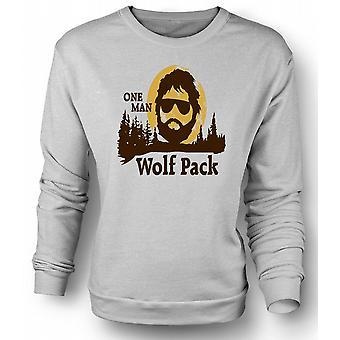 Mens Sweatshirt bakrus en mann ulv Pack - Funny