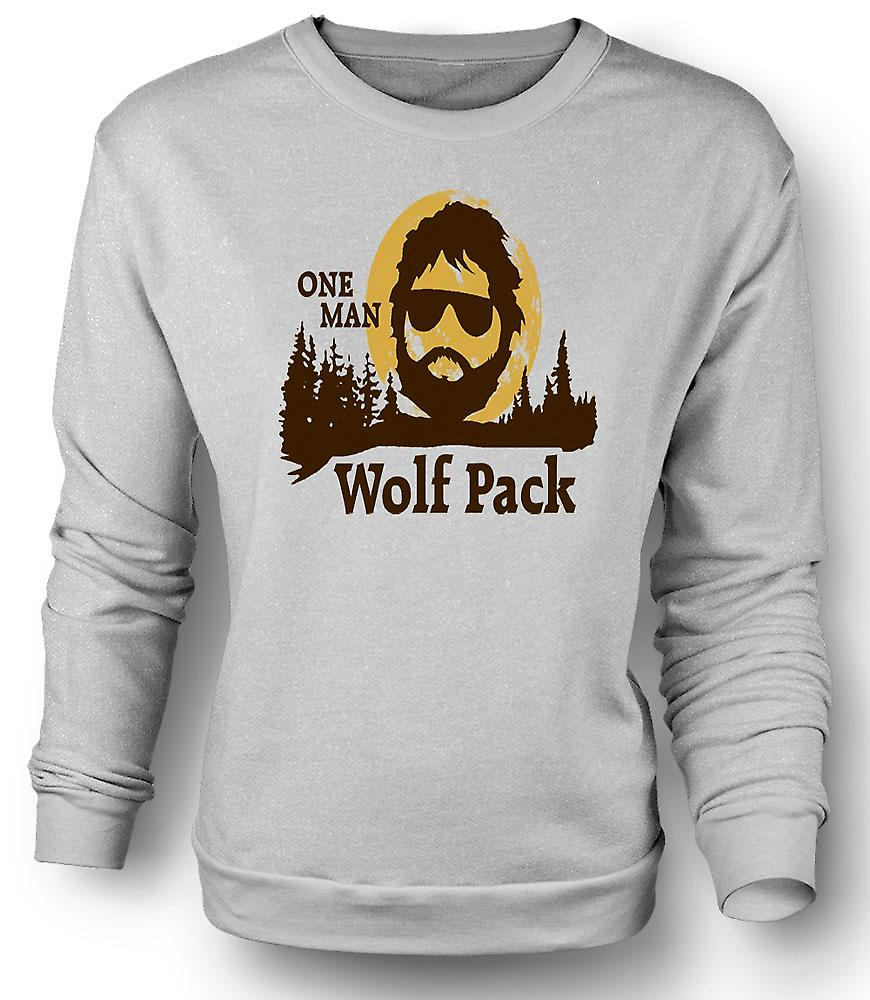 Heren Sweatshirt de kater One Man Wolf Pack - Funny