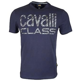 Cavalli Class Jersey Stretch Cotton Logo Navy T-shirt