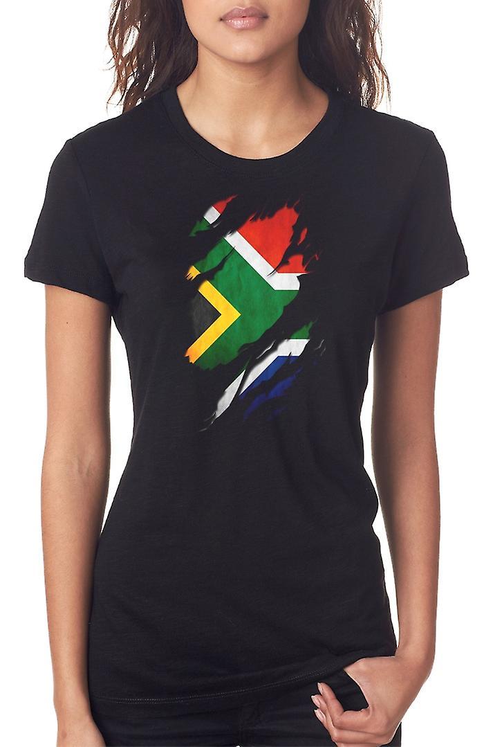 Bandera del Grunge del africano del sur arrancó efecto las señoras T Shirt