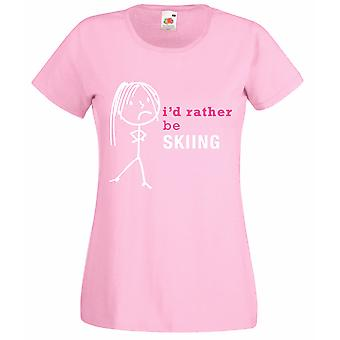 Ladies I'd Rather Be Skiing Baby Pink Tshirt